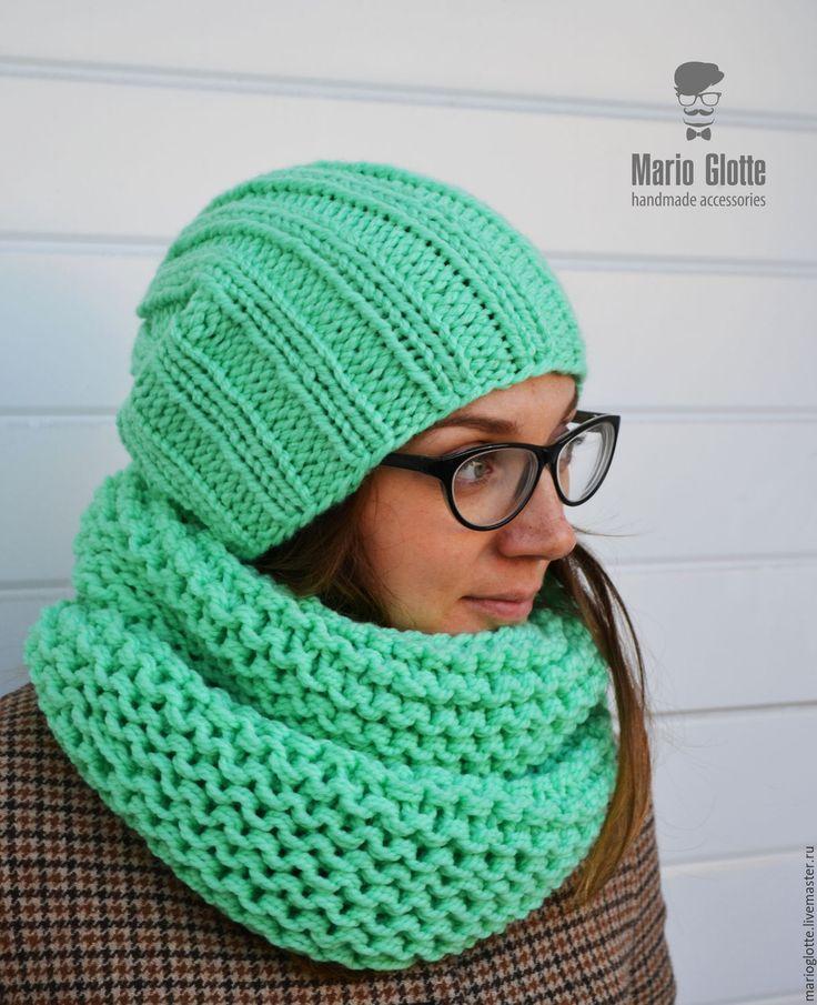 Купить Вязаный комплект шапка + шарф мятного цвета, мериносовая полушерсть - однотонный