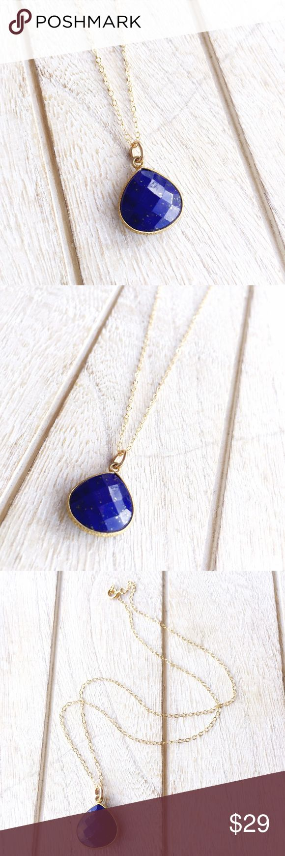 """Lapis Lazuli Necklace, Blue Stone Necklace A faceted Lapis Lazuli stone with gold specks is set in 24k gold vermeil bezel setting. Pendant hangs on a dainty 18k gold filled chain and closes with a spring clasp. 16"""" long. Mystica Jewelry Necklaces"""