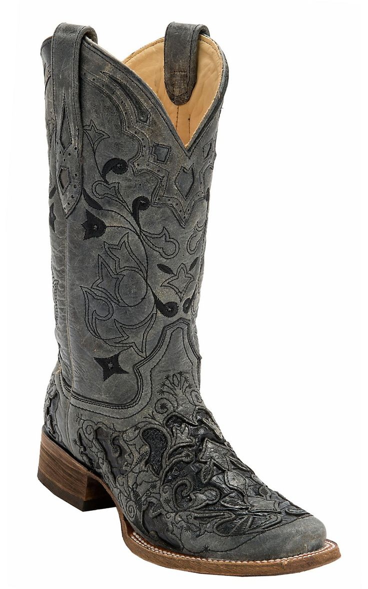 Model Corral Womens Sequin Cross Inlay Square Toe Cowgirl Boots Tan
