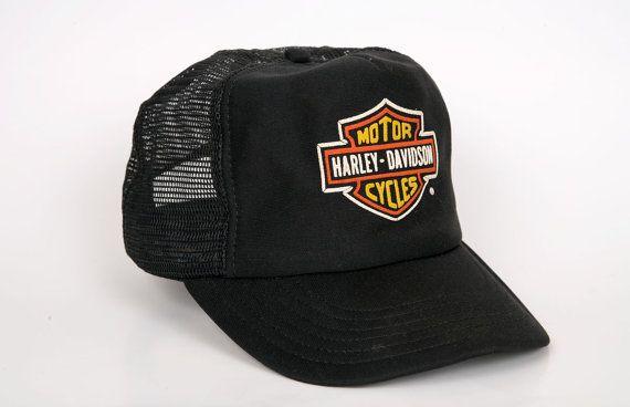 Fox Flexfit Hats >> Harley Davidson Trucker Hat, Black with Orange Harley Logo, Vintage Snapback Hat   Logos, Harley ...
