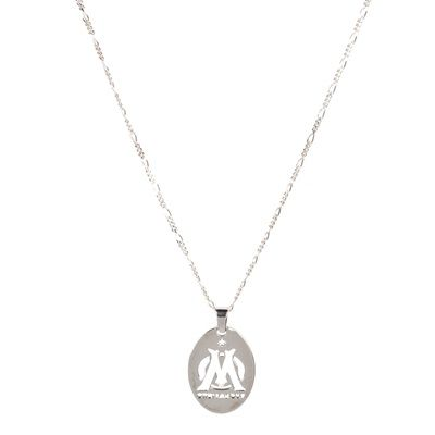 Olympique de Marseille Sterling Silver Oval Plate Pendant & Chain Silver