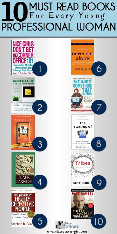 10 Must Read Books For Every Young Professional Woman. - Started with Book 1, wish I knew about this earlier in my career.