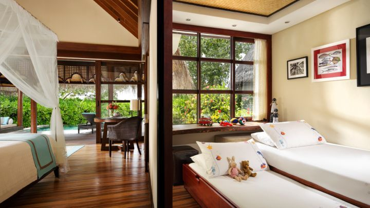 A hotel room where you can watch the sunrise! Maldives Accommodation | Sunrise Family Beach Bungalow with Pool | Four Seasons Resort Maldives At Kuda Huraa