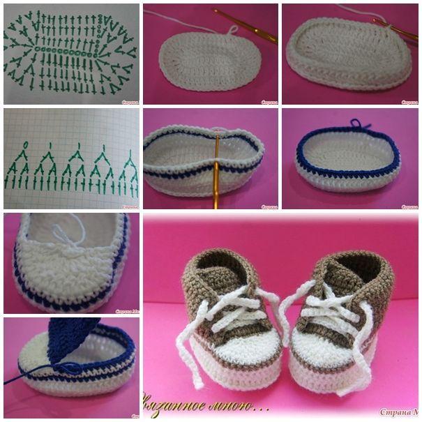 Crochet baby sneaker free pattern #diy #craft: