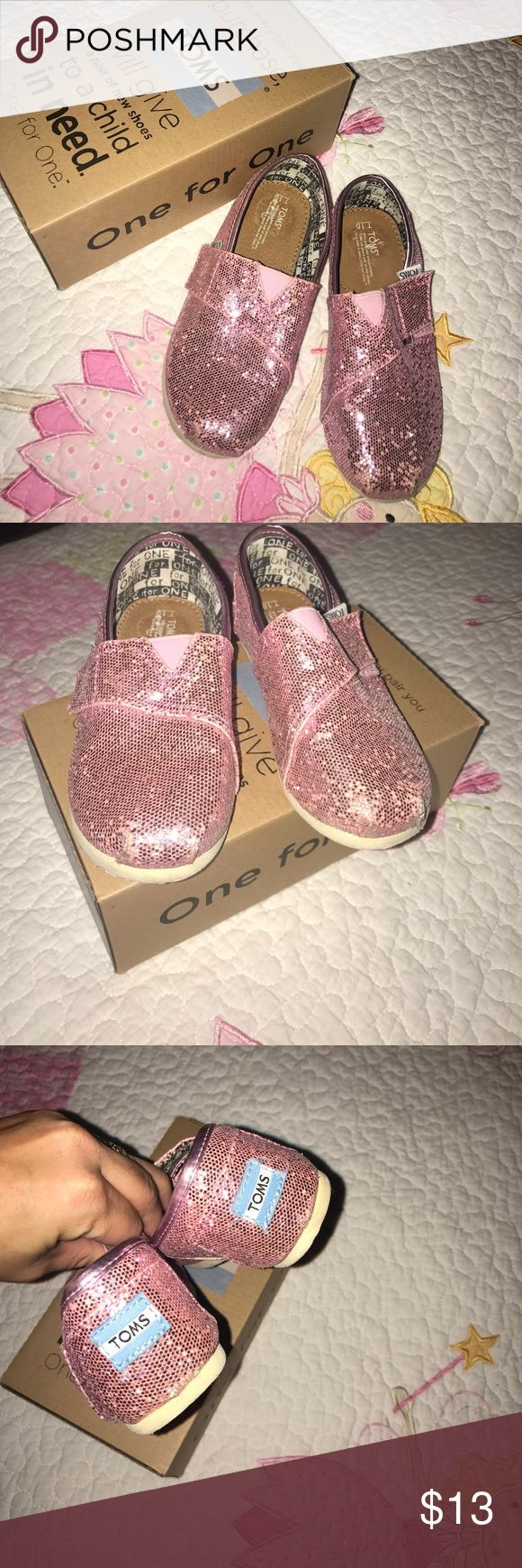 Girls Pink Glitter Toms Good, lightly worn Classics Pink Glitter Toms.  Includes box and
