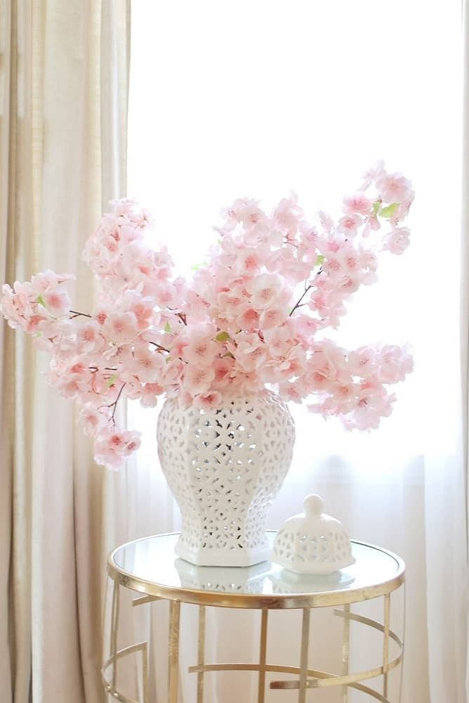 Pink Cherry Blossom Arrangement In White Ginger Jar Home Floral Arrangements Decor Cherry Blossom Decor