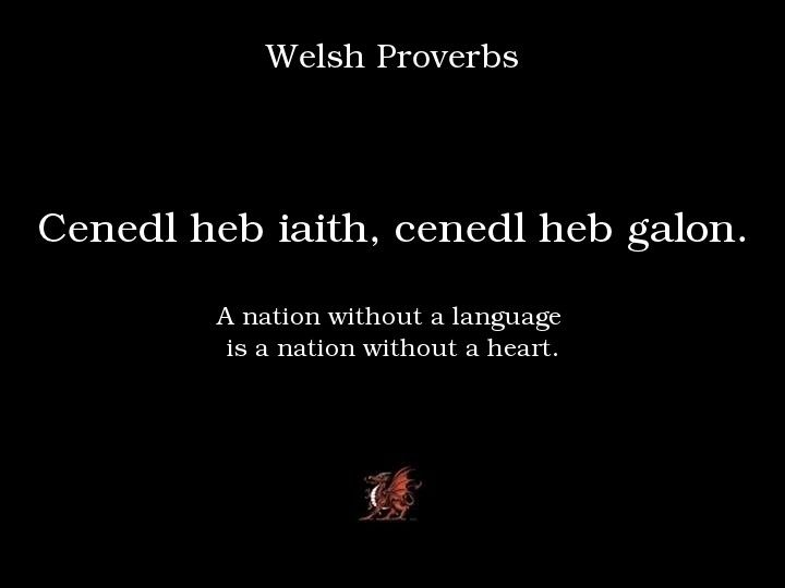 Welsh Proverbs: Cenedl heb iath, cenedl heb galon.