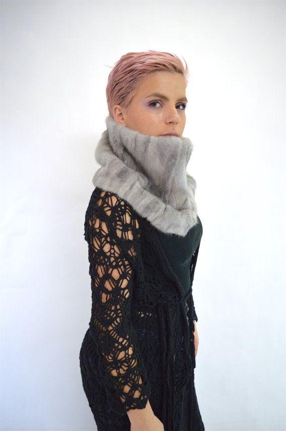 Real fur collar sapphire mink fur cowl real mink fur loop by BeFur