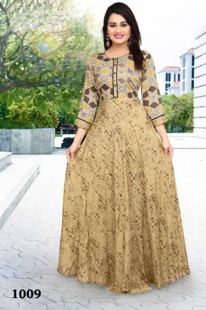 bc0f3504a66 Bulk Designer Rayon Gown Style Occasional Wear Printed Floor Touch Kurtis  Collection