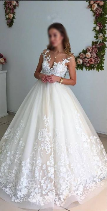 Gorgeous Ball Gown Lace Long Wedding Dresses,Elegant A-line Wedding Gowns,Bridal Dresses