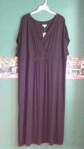 J.Jill 4X Dress Black Empire Surplice Roomy Jersey Maxi  One Side Slit $109 NWT  #JJill #EmpireWaistMaxiShift #Casual