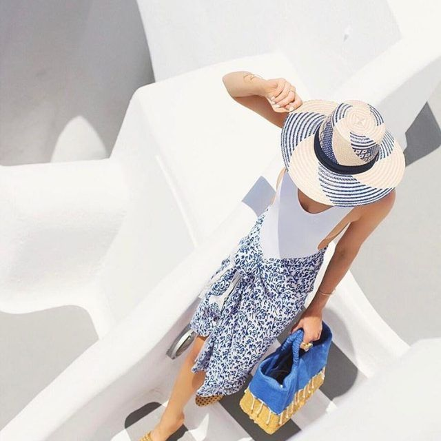 Abstract Blue Tribal Sarong and Wayuu Hat on Model