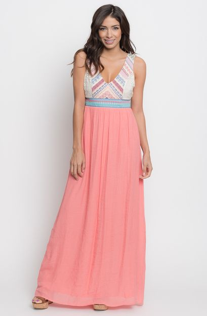 embroidered gauze maxi dress - Caralase