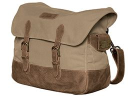 """The Tilley Intrepid III Bag. Inspired by a well worn WWII utility bag, the Tilley Intrepid III Bag is equipped with 5 secured pockets, wide and deep enough to hold a 13"""" laptop, wallet, keys, glasses and much more. Each bag carries a brass plate with a registration number that can be registered with Tilley. In case the bag is ever lost, we'll try and connect the owner with the finder."""