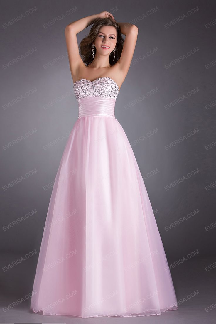 Ball gown Pink A line princess Sweetheart Floor Length prom dresses with Beaded  -  $75.00 #prom #dress #promdress #eveningdress #formaldress #homecomingdress #bridesmaiddress From https://www.everisa.com/ball-gown-pink-a-line-princess-sweetheart-floor-length-prom-dresses-with-beaded