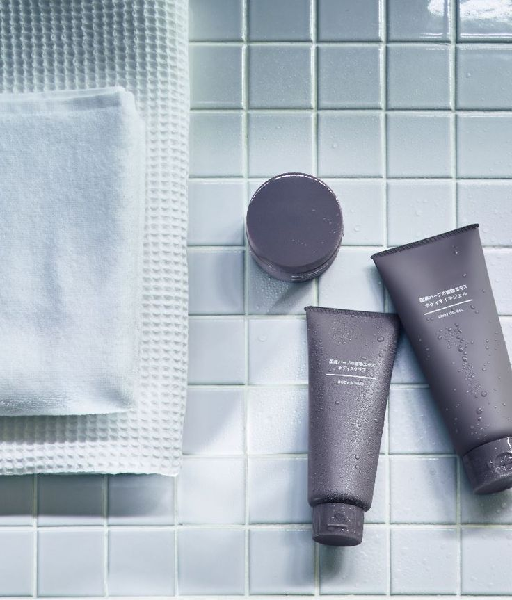 The simple packaging of MUJI Skincare products blends in any bathroom decor.