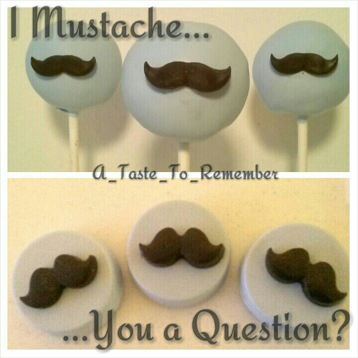 Mustache cake pops with matching chocolate covered oreos for baby shower #beau #boworbeau Can be included in bow or beau gender reveal order.
