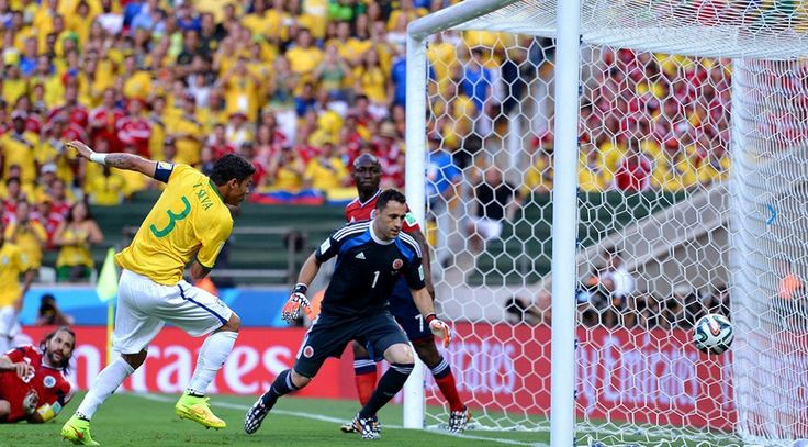 Thiago Silva of Brazil scores Friday, 4 July 2014 FORTALEZA, BRAZIL - JULY 04: Thiago Silva of Brazil scores his team's first goa during the 2014 FIFA World Cup Brazil Quarter Final match between Brazil and Colombia at Estadio Castelao on July 4, 2014 in Fortaleza, Brazil.