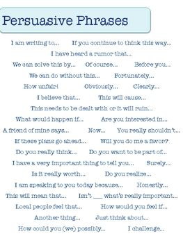persuasive essay words to use