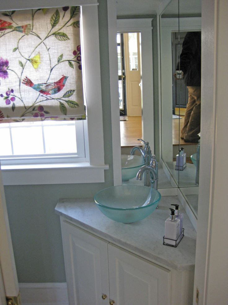 Small Powder Room Bathroom With Corner Vanity Cabinet Mount On Top Glass Bowl Sink