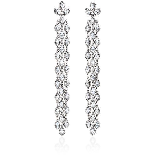 Bochic Diamond and White Sapphire Long Cascade Earrings ($23,750) ❤ liked on Polyvore
