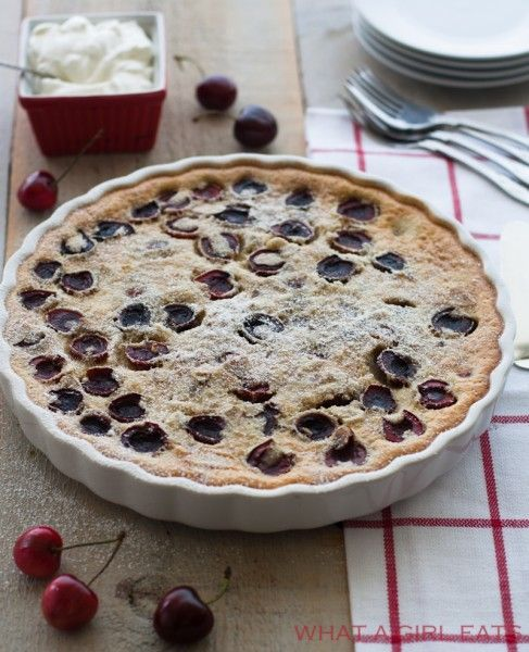 Cherry clafoutis, this classic French bistro dessert works well with just about any type of fruit. Just top the fruit with batter and bake!