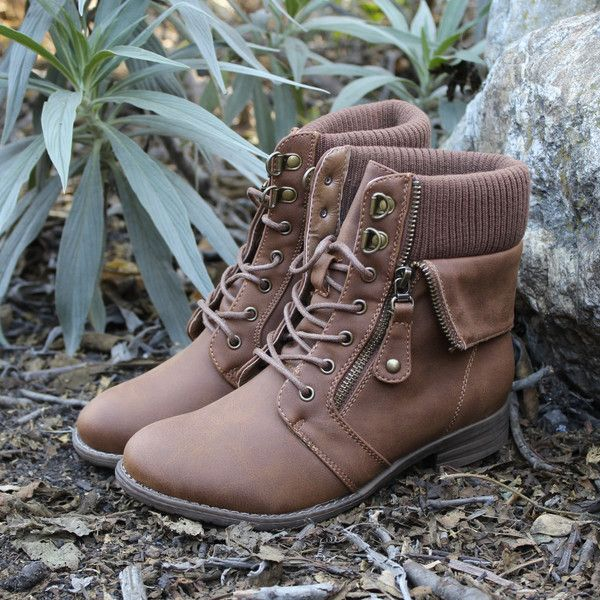 """Cozy sweater sock like details adorn these tan ankle length booties. Features a laced up front, exposed side zipper, soft knit top, and a cozy inner lining. - color: camel - heel height : 1"""" - boots h"""