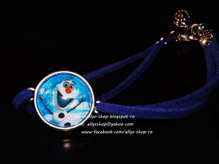 Ellys Shop: Bratara imitatie piele intoarsa albastra si imagin...