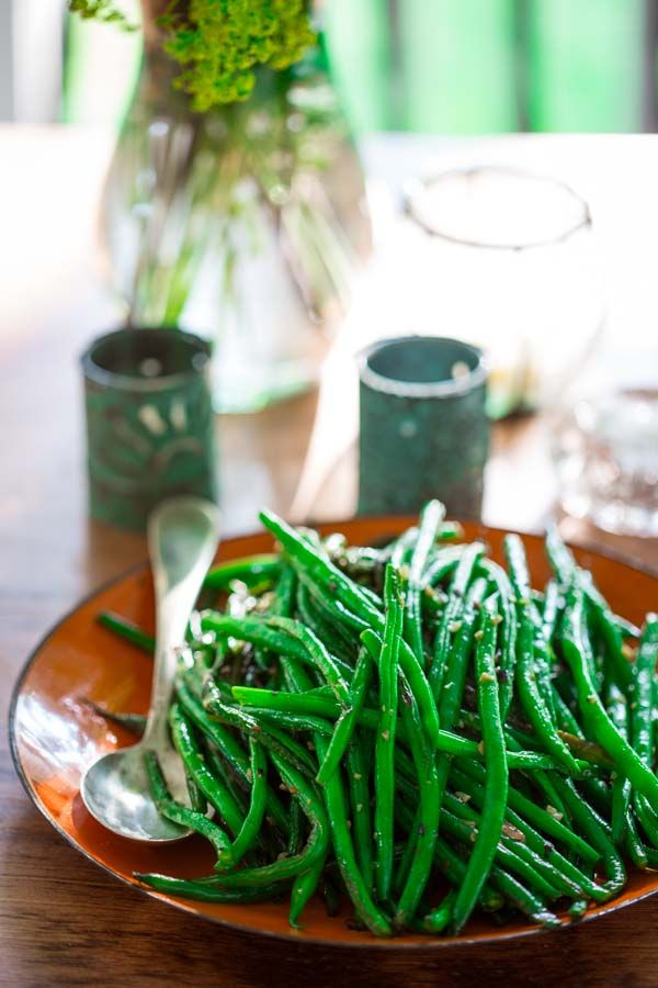 Forget the french fries! Try these simple skillet green beans instead!
