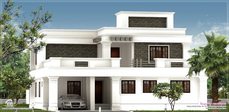 Flat roof homes designs flat roof villa exterior in 2400 Indian house front design photo