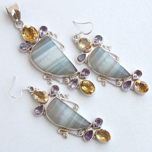 925 Sterling Silver Set 3''Agate,Citrin, Amethyst Gemstone jewelry-233
