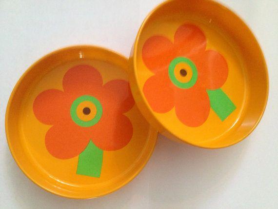 Laurids Lonborg 60s set of 2 tin plates.  Mid century modern danish design. Great pattern.
