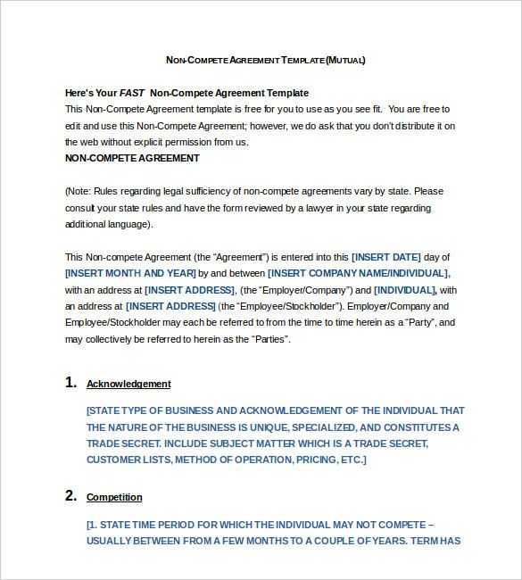 Free Non Compete Agreement Form Word Format Non Compete Agreement Template What You Need For A Clear Content Templates Non Disclosure Agreement Agreement