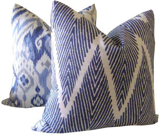 Indigo Ikat Decorative Pillow by CaliforniaLivinHome on Etsy