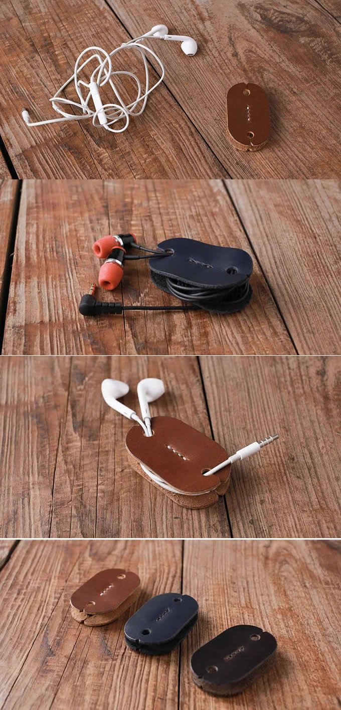 Leather Headphone Earphone Wrap Winder Cable Cord Organizer Holder