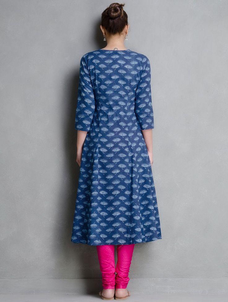 Buy Indigo Hand Block Printed Layered Cotton Kurta by Aavaran Online at Jaypore.com