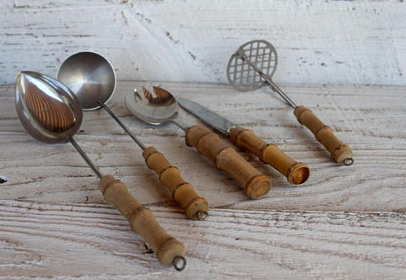 Vintage  Bamboo  Utensil  Utensils    Kitchen  Tiki Bar serving ware service set cooking ladle potato masher spoon knife