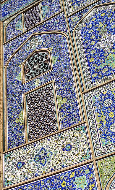 Tilework in Sheikh Lotfollah Mosque, Esfahan, Iran