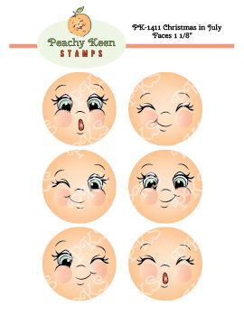PK-1411 Christmas in July Faces 1 1/8: Peachy Keen Stamps | Home of the original clear, peach-tinted, high-quality whimsical face stamps.