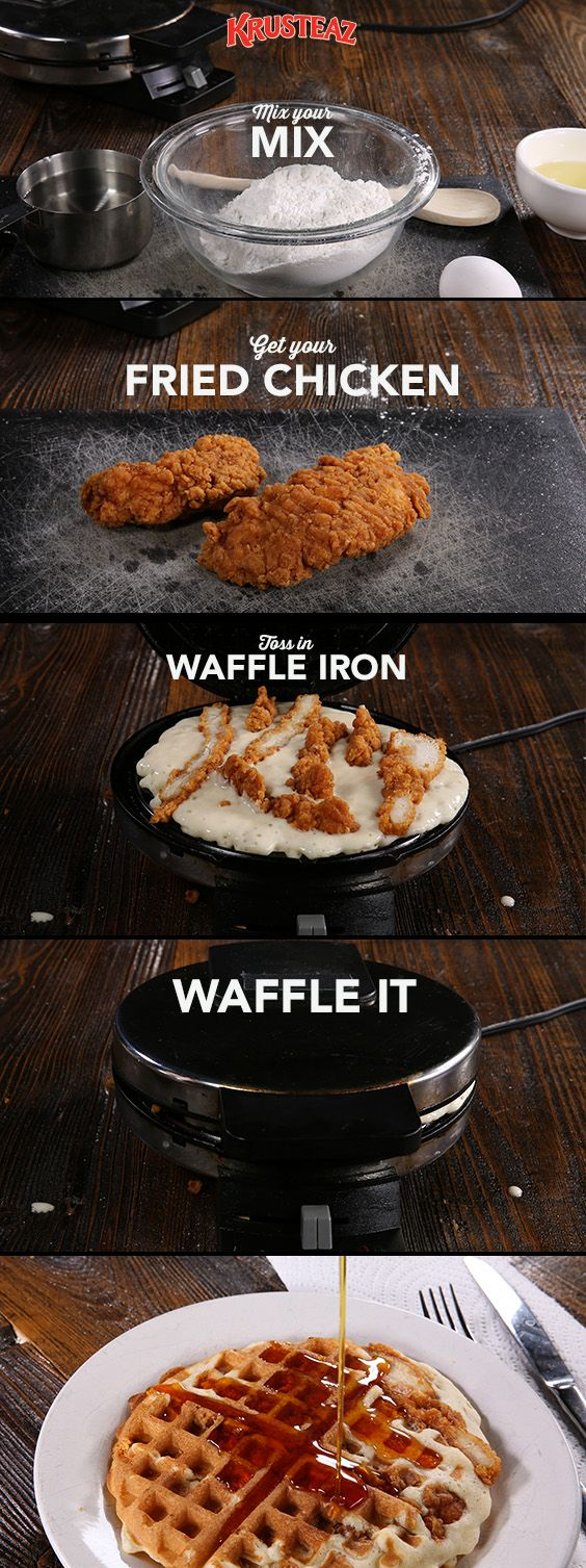 When we want something quick, easy, crunchy and sweet, we go for this Fried Chicken IN Waffles recipe every time… So about once a week :)