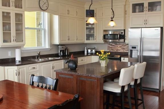 Creamy white cabinets brushed nickel hardware love the for White kitchen cabinets with brushed nickel hardware