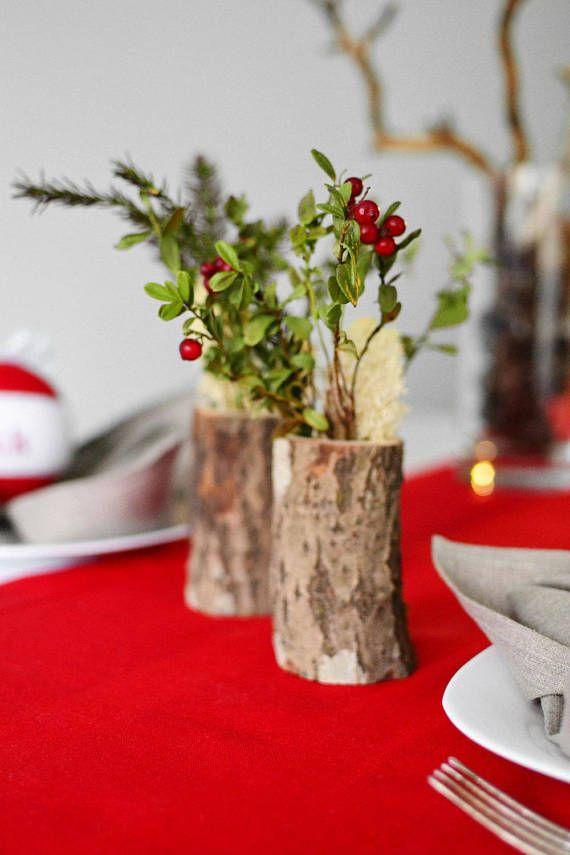 Five Wooden Vases Log Vases Flower Vases Christmas Wedding Decor Christmas Table C Natural Christmas Decor Christmas Table Centerpieces Rustic Easter Decor