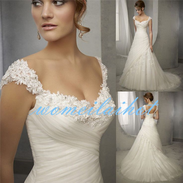 2017 A Line White/Ivory Wedding Dress Bridal Gown Custom Made Plus Size 2-28
