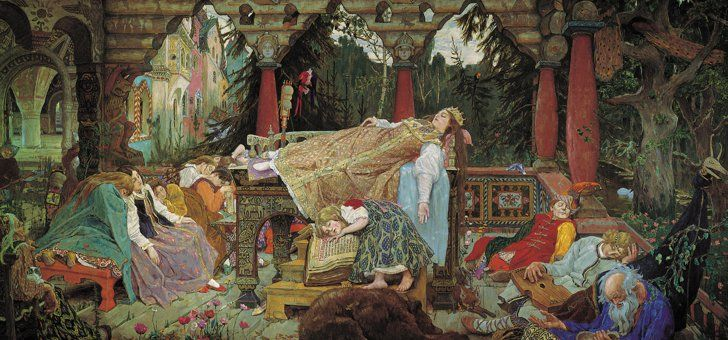 """Pin for Later: The Dark and Dirty History of Sleeping Beauty Sleeping Princess, 1848-1926 This is Viktor Vasnetsov's painting """"Sleeping Princess."""" Source: Wikimedia Commons"""