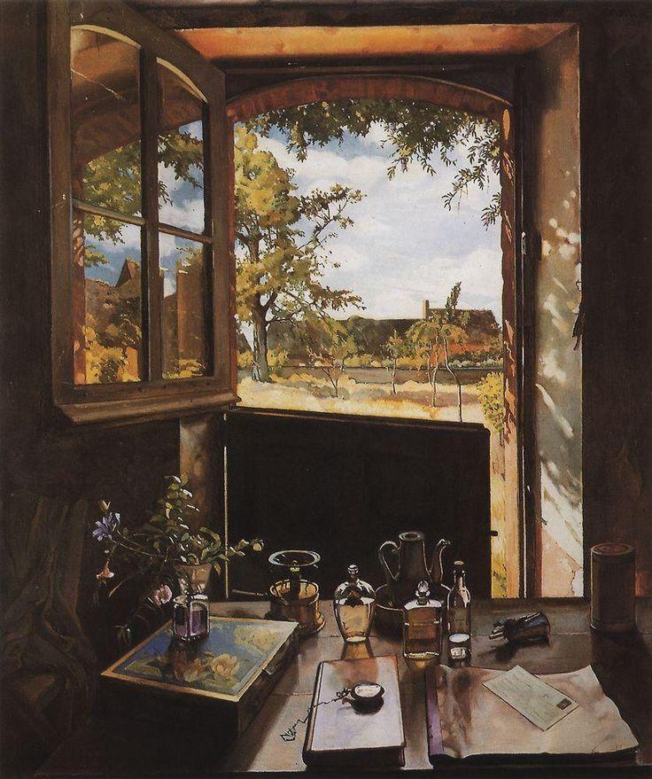 Окно - дверь - пейзаж (Открытая дверь в сад). 1934 |