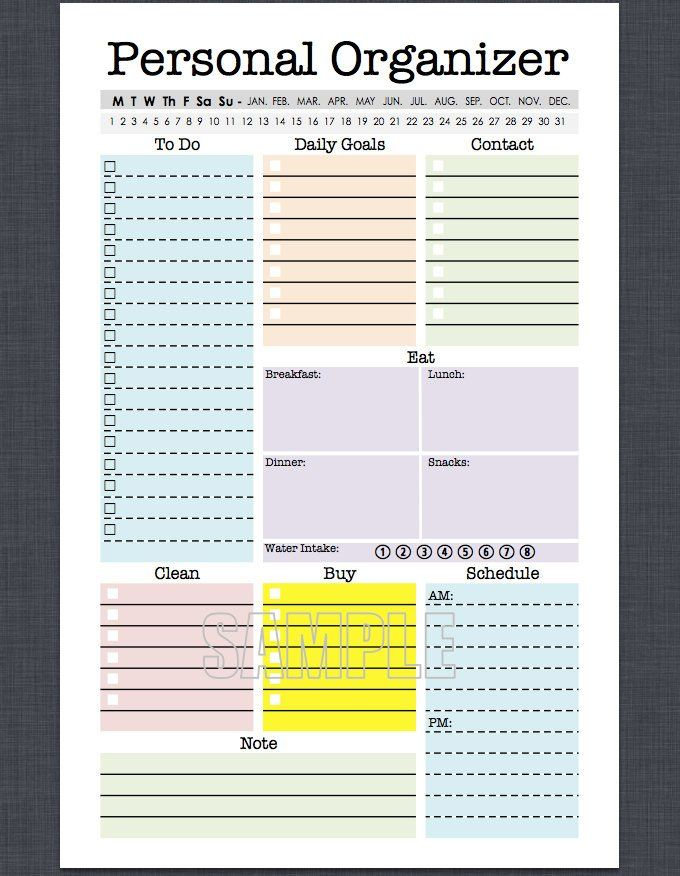 Mini Personal Organizer - Half Letter Size - Fillable, daily planner