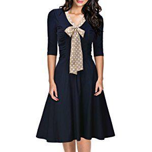 Miusol Women's Retro Flare Bow A-line 3/4 Sleeve Slim Evening Party Swing Dress
