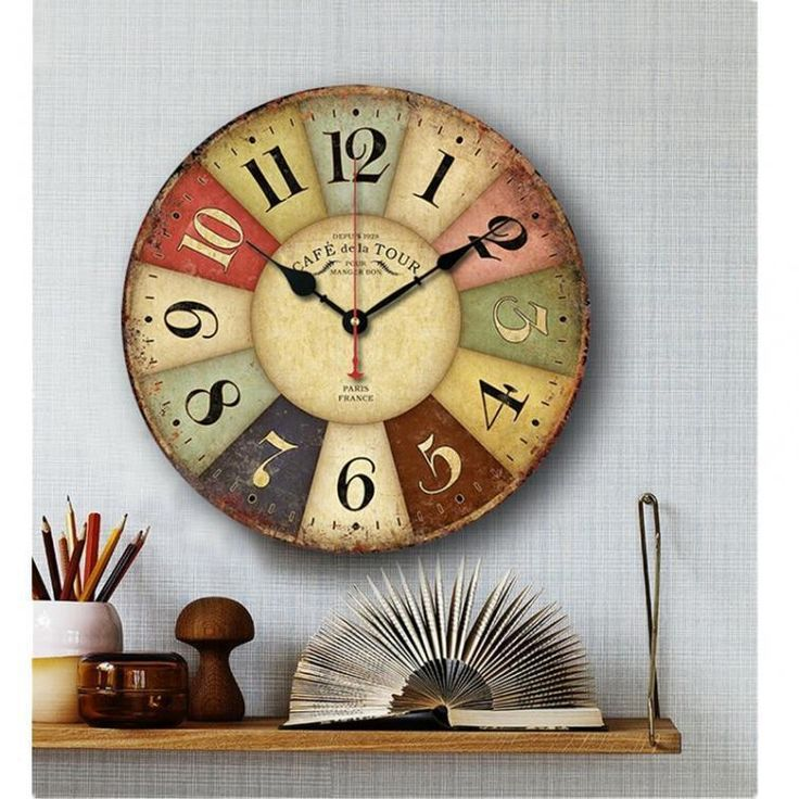 Large Vintage Rustic Wooden Wall Clock Kitchen Antique Shabby Chic Retro Home #wall clocks #contemporary wall clock #unique wall clocks #decorative wall clocks  #vintage wall clocks #bathroom clocks #kitchen wall clocks
