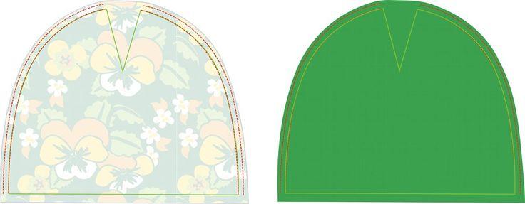Het mutsje is geschikt voor baby's van ongeveer 5 - 8 maanden.   Materialen:  * Stretch stof (Znok tricot Viooltjes Groen) (20 cm bij 45 ...