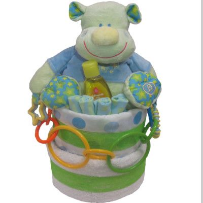 Get this Happy Hippo Unisex Gift Cake! Perfect for newborn and the mum!